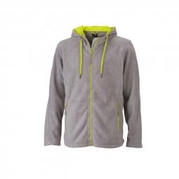 James et nicholson veste polaire zippee capuche contrastee homme jn998 gris acier m