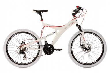 Vtt tout suspendu ks cycling topspin 26 shimano tourney 7v blanc rouge 51 cm 165 180 cm
