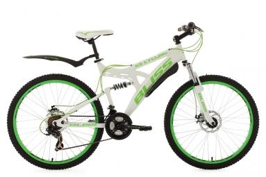 Vtt tout suspendu ks cycling bliss 26 shimano tourney 7v blanc vert 47 cm 166 174 cm
