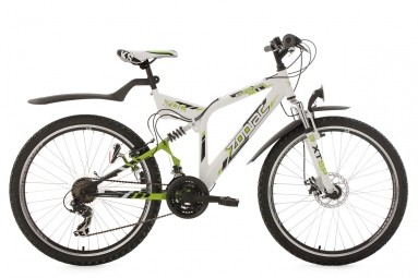 Vtt tout suspendu ks cycling zodiac 26 shimano tourney 7v blanc vert 48 cm 167 176 cm