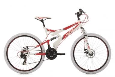 Vtt tout suspendu ks cycling topeka 26 shimano tourney 7v blanc rouge 46 cm 160 175