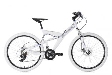 Vtt tout suspendu ks cycling topspin 26 shimano tourney 7v blanc bleu 46 cm 160 175