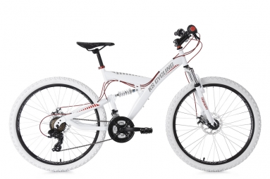 Vtt tout suspendu ks cycling topspin 26 shimano tourney 7v blanc rouge 46 cm 160 175 cm
