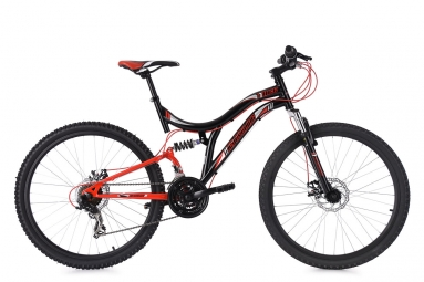 Vtt tout suspendu ks cycling nice 26 shimano tourney 7v noir rouge 48 cm 167 176 cm