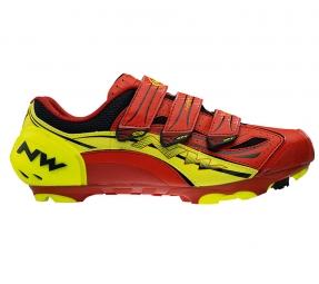Chaussures VTT Northwave Rebel R3 Rouge Jaune Fluo