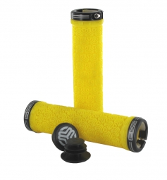 SB3 Pair of Grips LOGO Yellow Lock On Black