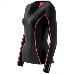 Skins maillot compressif manches longues femme a200 noir rose xs