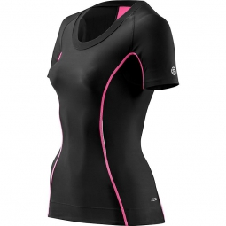 Skins maillot compressif manches courtes femme a200 noir rose xs