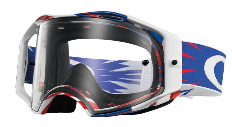 Goggles Oakley AIRBRAKE MX HIGH VOLTAGE RWB clear blue¤white