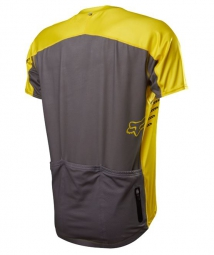 fox maillot attack zip manches courtes jaune s
