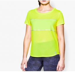 Under armour t shirt manches courtes femme fly fast jaune m