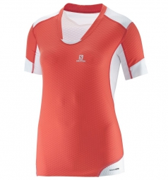 SALOMON 2015 T-Shirt EXO PRO Corail Blanc Femme