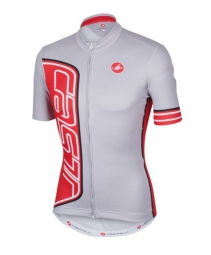 castelli maillot manches courtes formula jersey fz gris rouge xxl