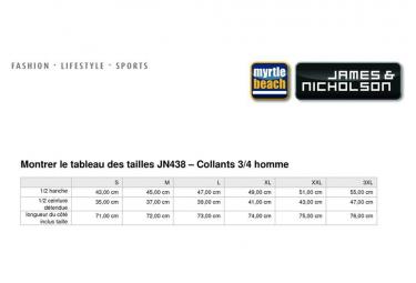 James et Nicholson Collant 3/4 corsaire running jogging course à pied HOMME JN438 - noir