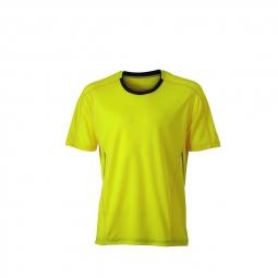 James et nicholson t shirt respirant running jogging jn472 jaune citron homme course