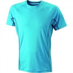 James et nicholson t shirt respirant running jn421 bleu turquoise homme course a pie