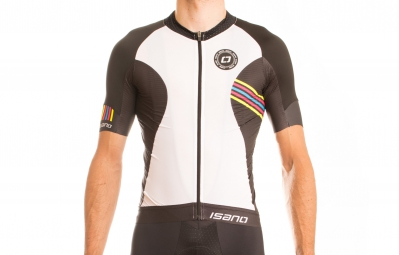 ISANO Maillot Manches Courtes IS 1.0 Noir Blanc Rainbow