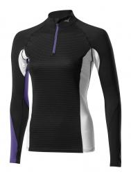 mizuno maillot manches longues virtual body g1 col 1 2 zip noir violet femme xs