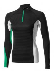 mizuno maillot manches longues virtual body g1 col 1 2 zip noir vert femme l