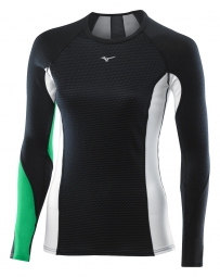 mizuno maillot manches longues virtual body g1 col rond noir vert femme l