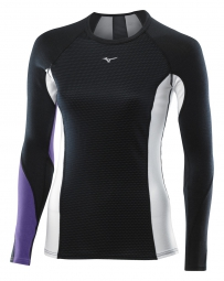 mizuno maillot manches longues virtual body g1 col rond noir violet femme xs