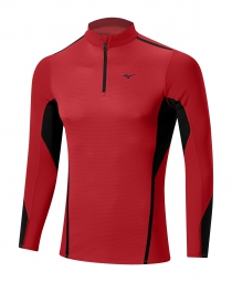 mizuno maillot manches longues virtual body fusion 1 2 zip rouge s