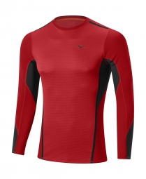 mizuno maillot manches longues virtual body fusion crew rouge s
