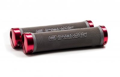 CHROMAG Poignées Lock-on PALMSKIN 142mm Gris/Rouge