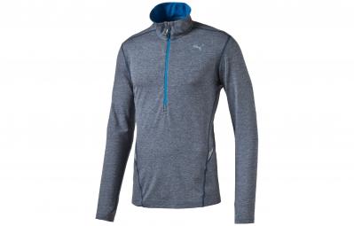 PUMA Tee-Shirt ML1/2 Zip Homme Gris Bleu