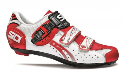 Chaussures Route Sidi GENIUS 5 FIT CARBON Blanc Rouge