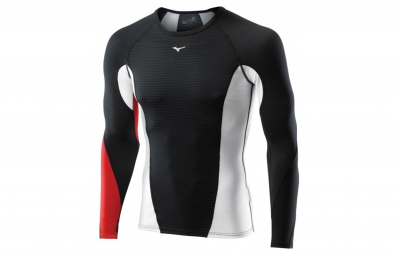 MIZUNO Maillot manches longues VIRTUAL BODY G1 col rond Noir Rouge