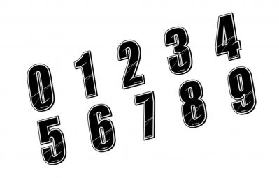 MAIKUN Numéro pour Plaque BMX Noir 5 cm