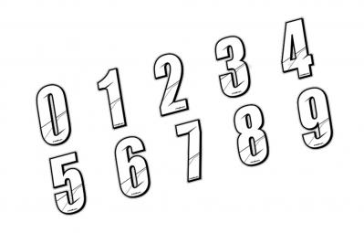 MAIKUN Numéro pour Plaque BMX Blanc 8 cm