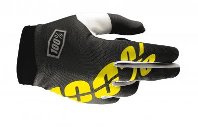 100 paire de gants itrack noir jaune fluo kid l