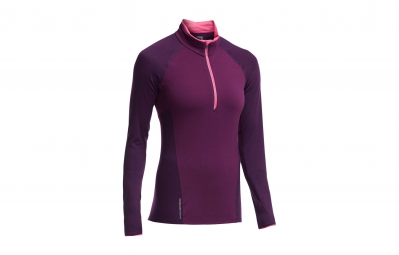 ICEBREAKER Maillot Manches Longues Femme SPARK LS HALF ZIP Maroon Vino Shocking