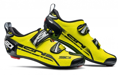 sidi paire de chaussures triathlon t4 air jaune fluo noir 41