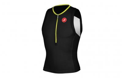 castelli 2015 maillot triathlon free tri top noir blanc jaune fluo s