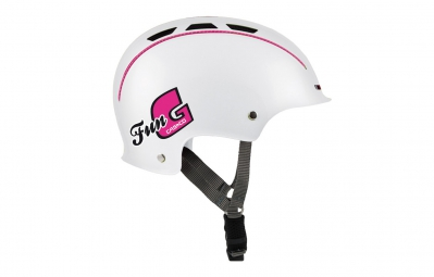casque bol casco enfant fun generation blanc rose unique 50 56 cm