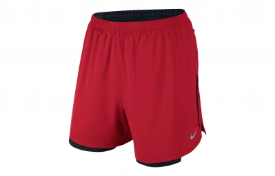 NIKE Short 2-en-1 PHENOM 2-in-1 12,5cm Rouge Homme