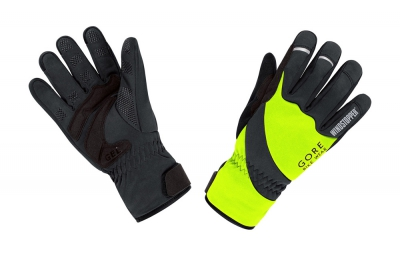 gore bike wear gants universal windstopper thermo jaune fluo noir xl