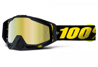 100% Masque RACECRAFT RACEDAY Noir Ecran Mirror Gold