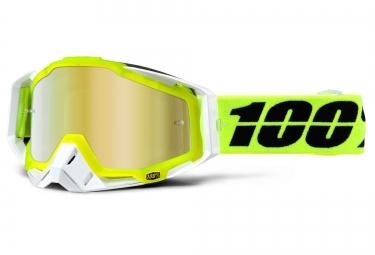 100% Masque RACECRAFT SOLAR Blanc Ecran Mirror Gold