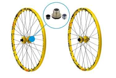 MAVIC Paire de Roues DEEMAX ULTIMATE | 27.5'' | Av 20 mm | Ar 12x150 Corps XX1 | 6 Trous | Jaune