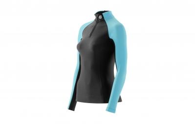 Skins maillot thermal de compression manches longues zip femme a200 noir bleu s