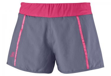 salomon short park 2in1 femme gris rose l