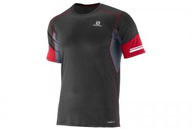 SALOMON Tee-Shirt Homme AGILE Noir Rouge