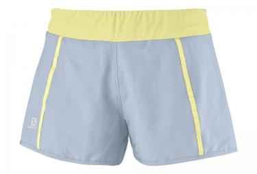salomon shorts femme park 2in1 gris jaune m