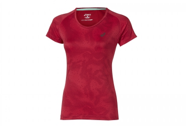 asics maillot fujitrail graphic rouge femme xs