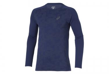 asics maillot manches longues seamless bleu s