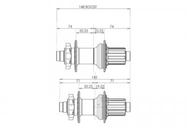 HOPE Moyeu Arrière Pro 2 EVO 32 Trous 148 x 12mm Boost Cassette Sram XD Orange
